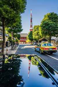 Reflection of Tokyo Tower.
