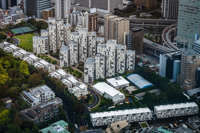 Looking down at Tokyo apartments.