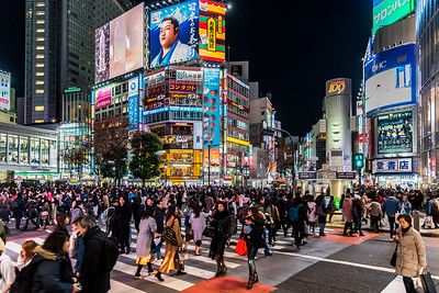 Busy Shibuya Crossing.