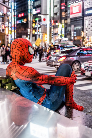 Spider-man outside Ginza Station.