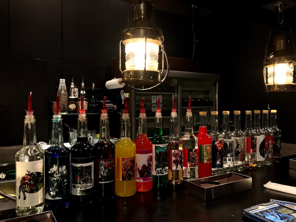 Solo diners will be seated at the bar, with its row of luridly-coloured syrups.