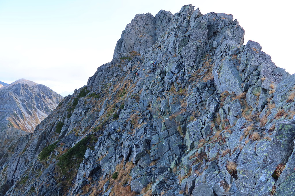 Steep wall along traverse
