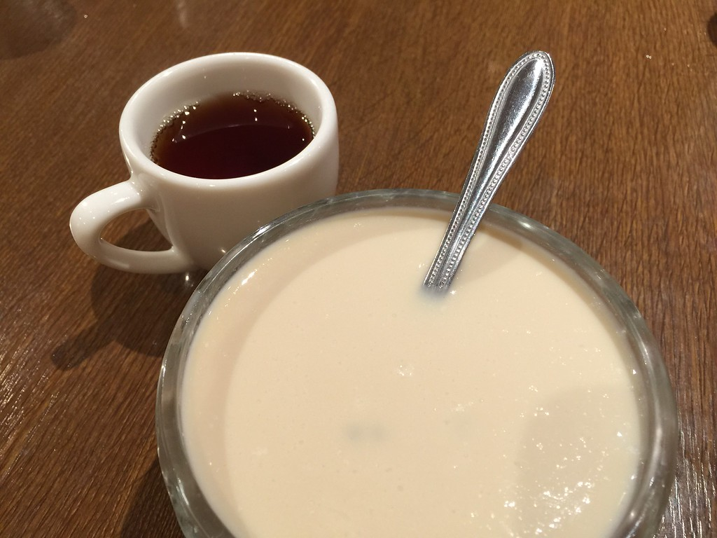 Tapioca pudding and coffee for dessert
