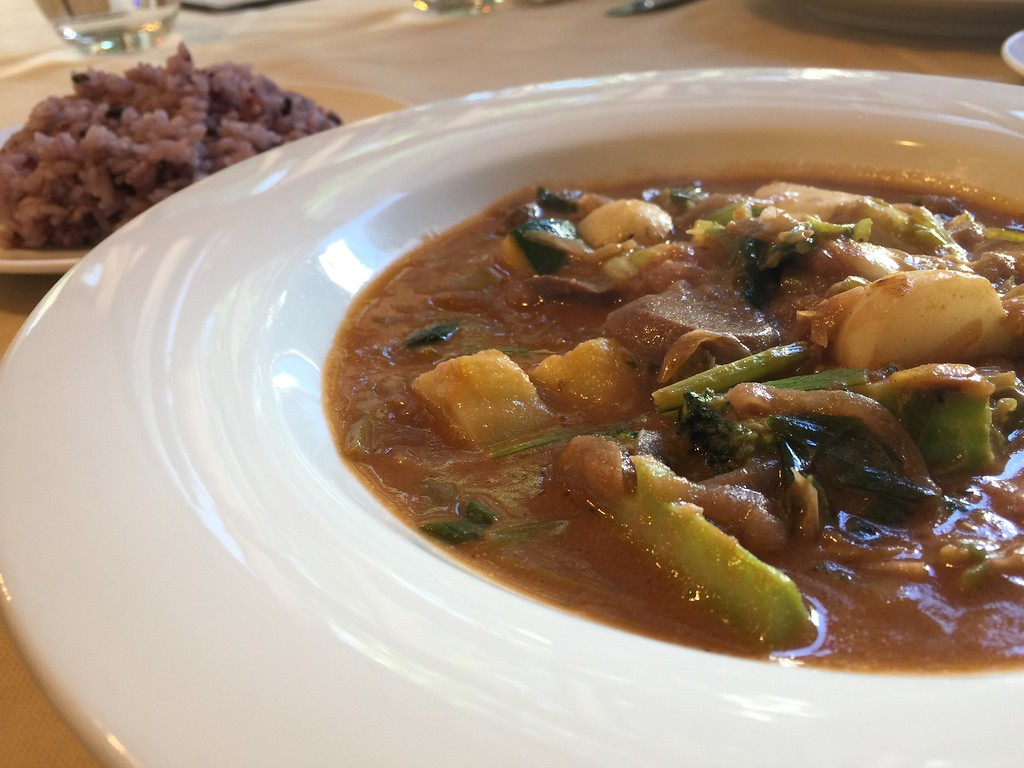 Organic mushroom and red wine stew