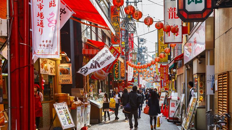 Colourful lanterns line the streets at Yokohama Chinatown. Editorial credit: cowardlion / Shutterstock.com