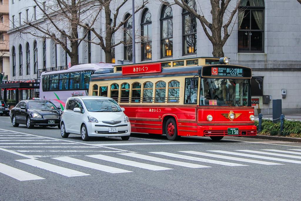 Yokohama red bus. Editorial credit: dimakig / Shutterstock.com