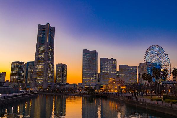 Yokohama's skyline at Minato Mirai 21 during twilight. Editorial credit: Princess_Anmitsu / Shutterstock.com