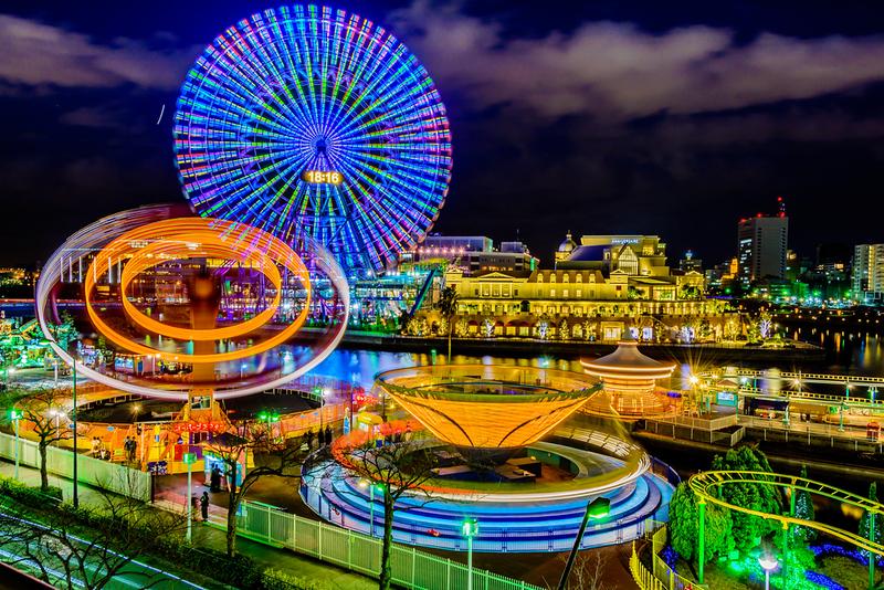 Cosmo World at night. Editorial credit: Haresh Sonar / Shutterstock.com