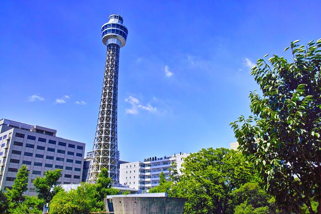 Yokohama Marine Tower seen from Yamashita Park in summer