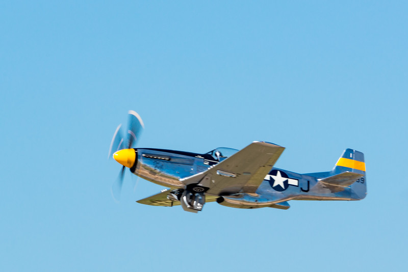 The great North American P-51 Mustang getting airborne.
