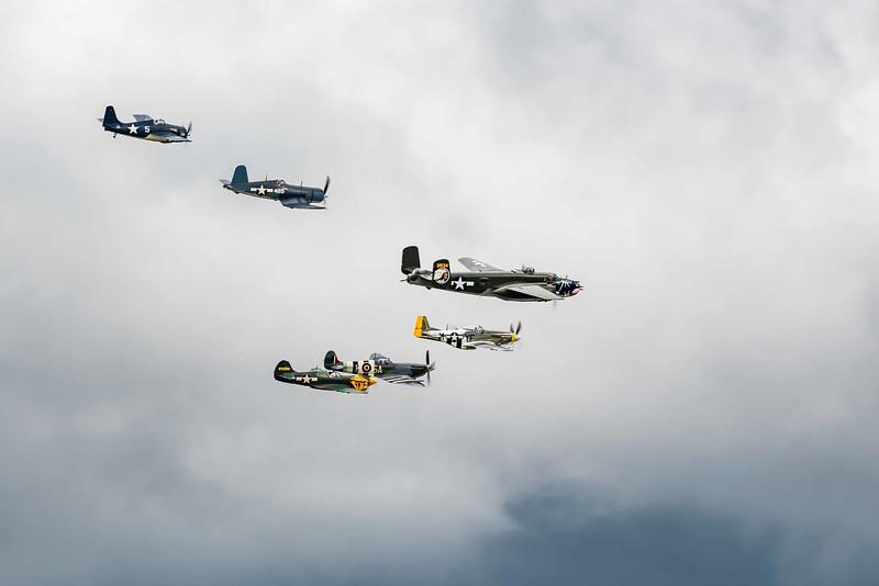 Vet Honor Flight: P40 War Hawk, Spitfire, Mustang, B-25Mitchell,  FG-1D Corsair, FM-2 Wildcat
