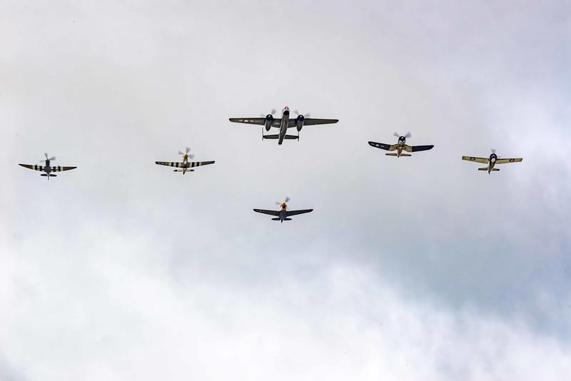 Vet Honor Flight from Texas Flying Ledgends Museum: Spitfire MKIXc, Mustang, B-25Mitchell, P40 War Hawk, FG-1D Corsair, FM-2 Wildcat