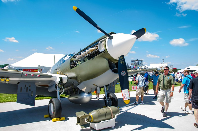 P-40 Warhawk being judged - panels open for judges inspection.