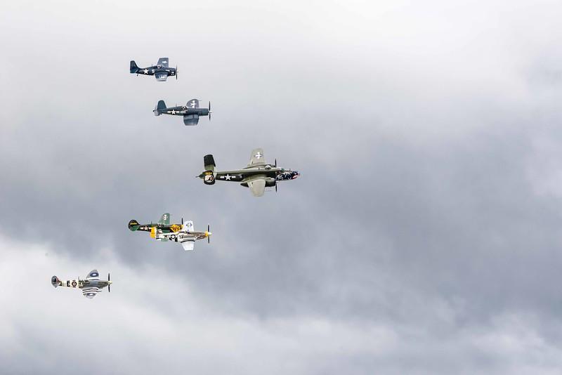 Vet Honor Flight:  Spitfire MK IXc, P40 War Hawk, P-51Mustang, B-25Mitchell, P40 War Hawk, FG-1D Corsair, FM-2 Wildcat from Texas Flying Ledgends Museum