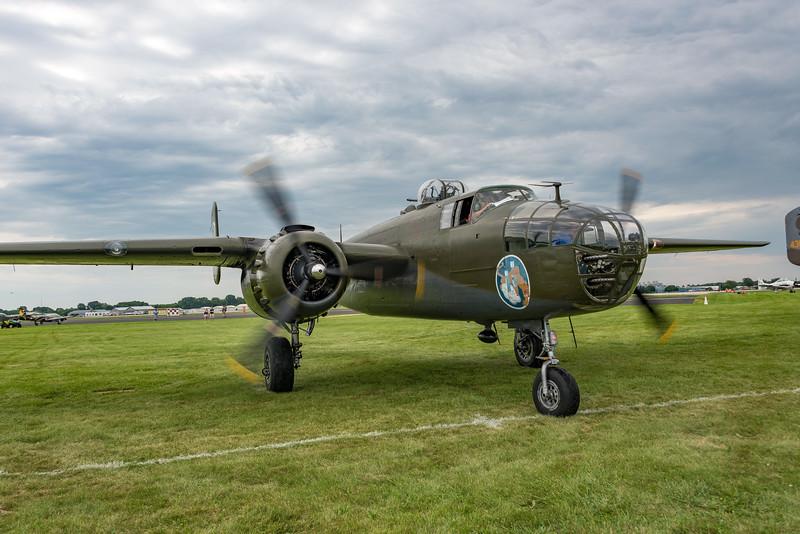 One of many B-25 Mitchells arrives at Oshkosh 17