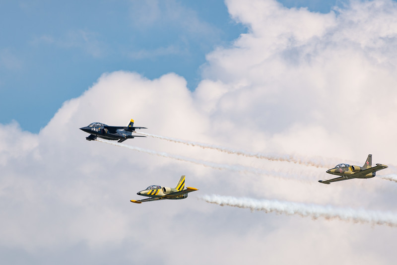 Alpha Jet leads two L-39s