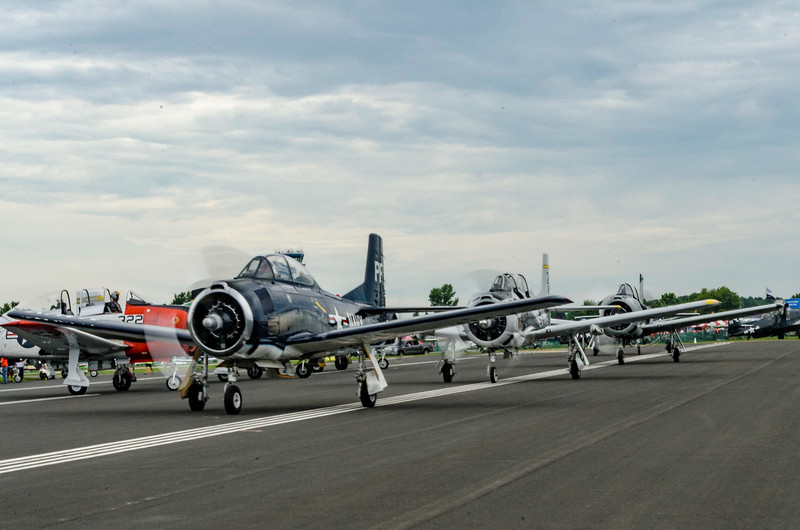 T-28s taxi out in trail for airshow