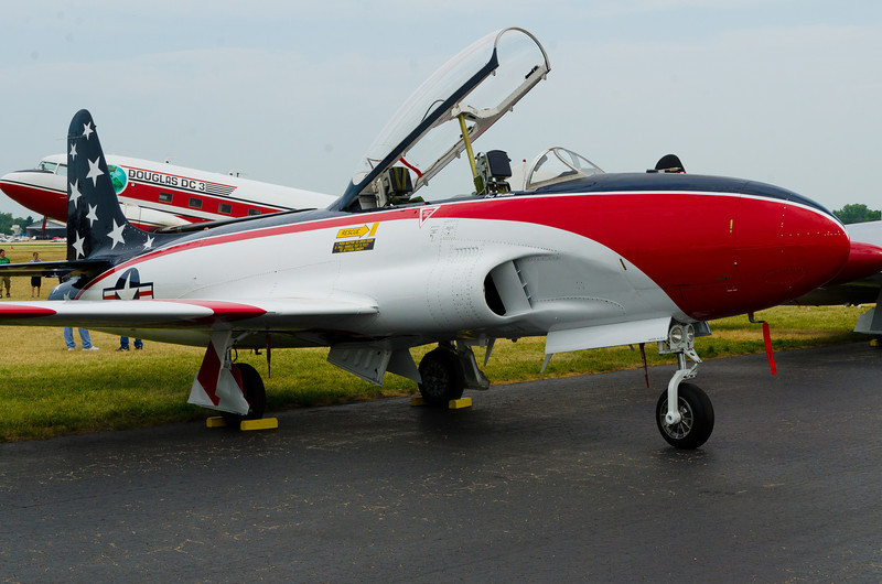 """Lockheed T-33 'T'bird"""", developed as a two-seat trainer derivative of the P-80 Shooting Star, the first operational jet fighter in US inventory.  Built early to mid 50's."""