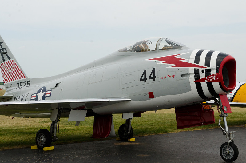 North American-Navy FJ-4B Fury, Late 50's.  This is the only one flying.  Both Air Defense and ground attack roles.