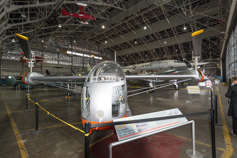 Bell XV-3 Tiltrotor, Ist flight 11 Aug. 1955.  The Osprey was its great-grandson.
