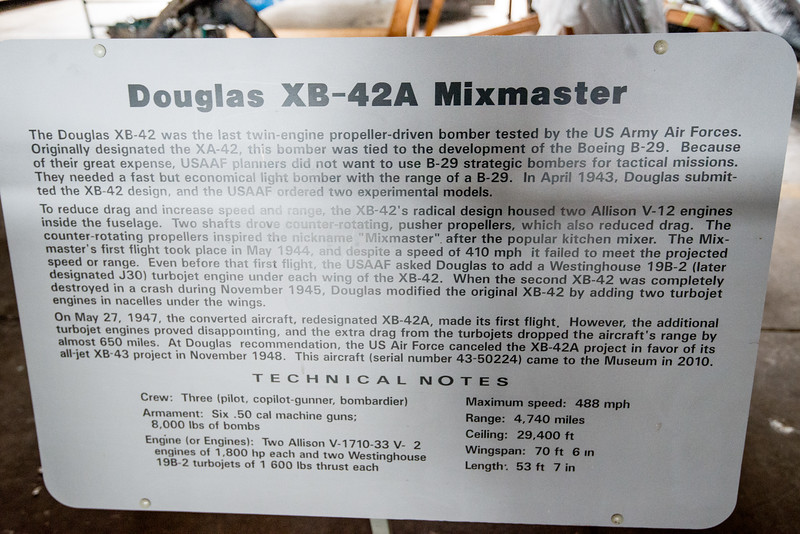 XB-42 Mixmaster, 2 engines in fuselage, couter-rotating props