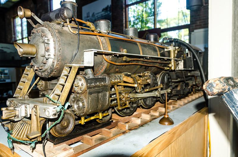 Metal, hand-built working steam train.