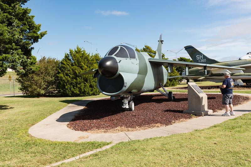 LTV A-7 Corsair II, derived from F-8 Crusader.  Great Bombing Platform