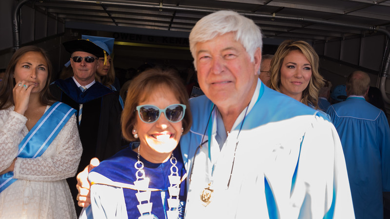 Chancellor Folt, Tom and Commencement Speaker Booke Balwin, CNN Anchor,  to Right