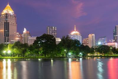 Bangkok Lumpini park - view over Silom