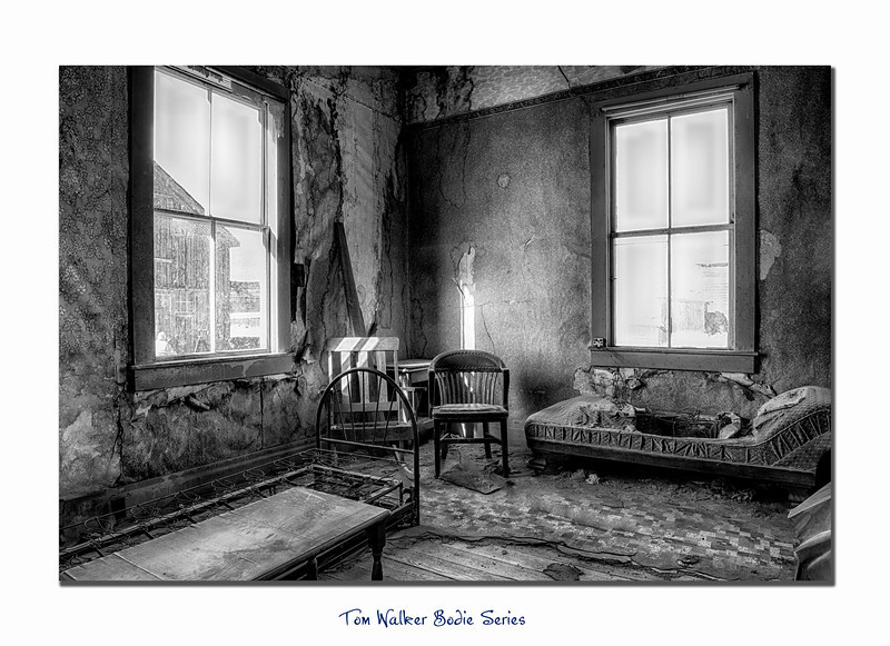 Interior of Bodie Miller House, five image bracket exposure HDR.