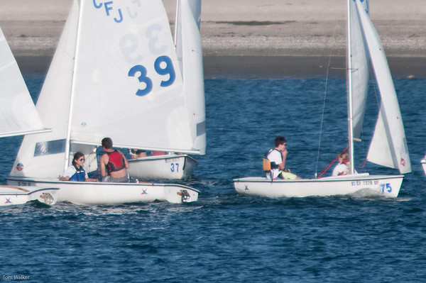 CJ and Erin in #39 and Thomas and Maddie in boat to right of #39 going in opposite directions.