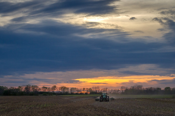 Working The Fields In The Evening Light In New Carlisle Ohio 4-18-2017