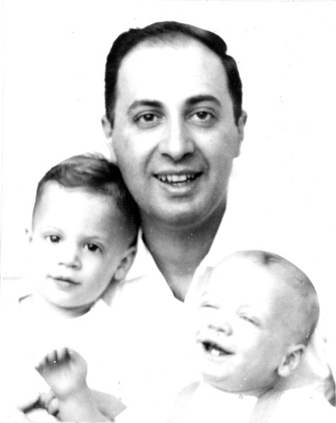1956 Dad with Bill & Tom