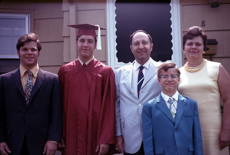 Tom (age 14), Bill Jr. (age14), Bill Sr. (age 45), Rich (age 10) & Ann (age 38) - May 1970
