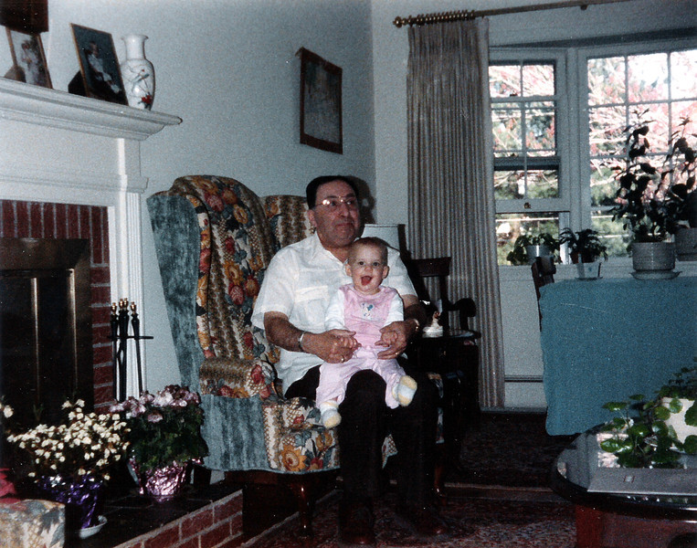 Grandpa Bill and baby Katie. 1986