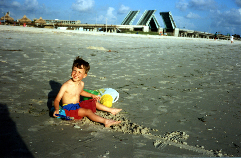 Tristan playing on the beach at John's Pass - 1990
