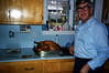 Jim cooks a Christmas turkey, 1987