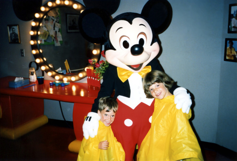 The kids with Mickey Mouse. 1990