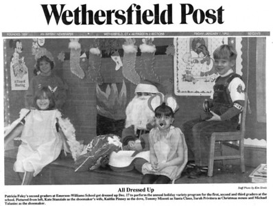Katie in 2nd grade made the front page of Wethersfield's weekly newspaper. Kaie's friend, Sarah Privitera passed away from brain cancer in 1994. We should count our blessings, as life could always be worse. ©1993 Wethersfield Post. All rights reserved.