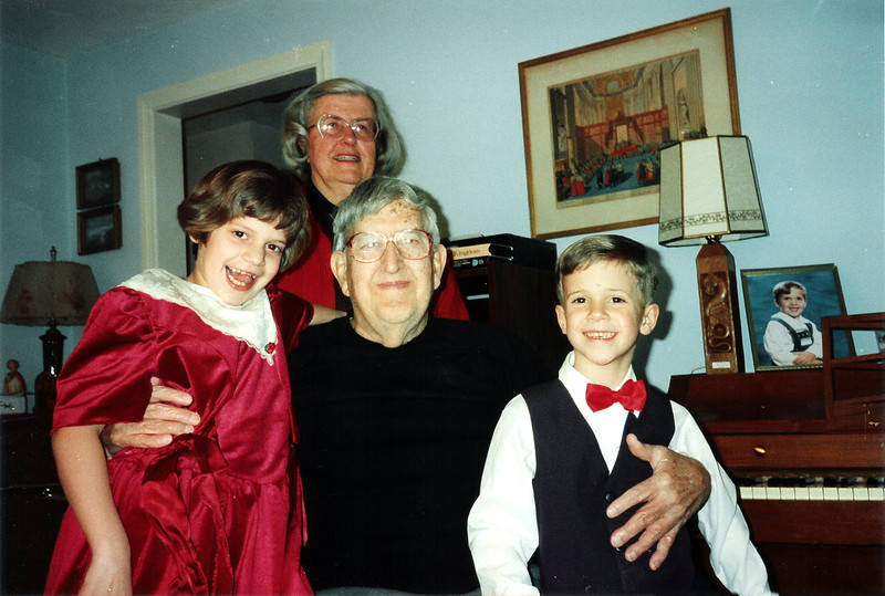 Christmas 1993. Katie, Grandma & Grandpa Halfpenny & Tristan. Glastonbury, CT