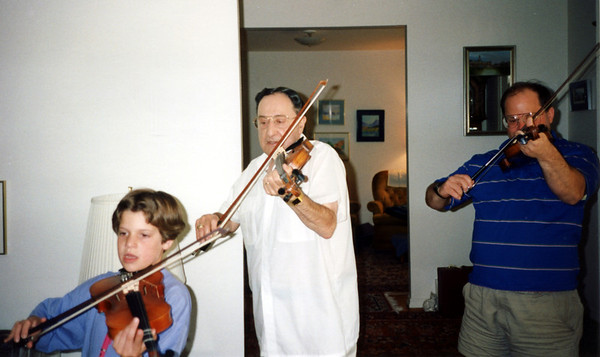 Dad was the only violinist among us. Katie & I just vittled with our fiddles. I should have asked for a left handed violin!