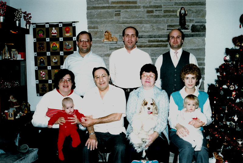 Christmas 1985, Wethersfield, CT<br /> Bottom row: Penny, Katie, Grandpa Bill, Grandma Ann, Ginger, Jenifer, Lynn.<br /> Back row: Tom, Bill & Rich.