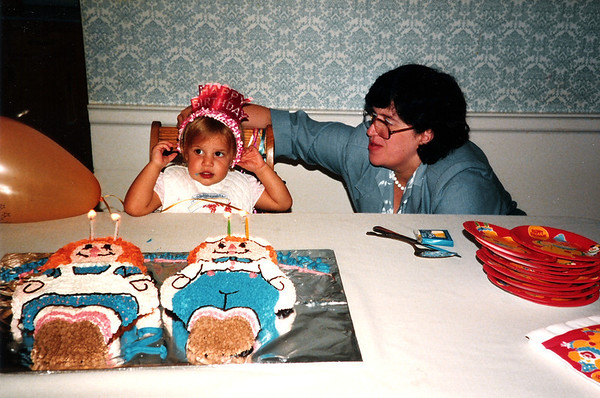 Katie with Penny - Katie's 2nd Birthday, July 1987
