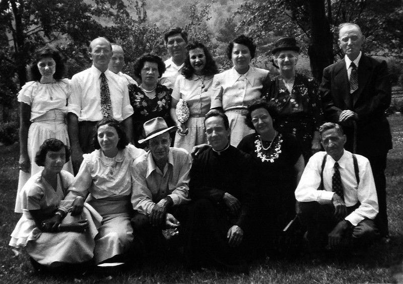 Standing left to right: Mary Gionfriddo, Bill Knapp, Tony & Rose Ciampi, George Gionfriddo, Marian Gionfriddo, Eleanor Stanziale, Rosemary & Fidele Ciampi. Kneeling left to right: Teresa Ulgherait, Jean Knapp, Dominic Ciampi, Lena Ulgherait & Tom Stanziale. Circa 1948