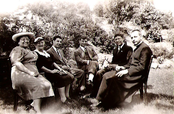 Rose Champi(2nd from left) and Bill Stanziale (3rd from left). approximately 1941, location unknown.