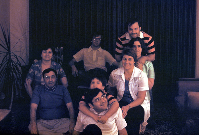 1976 - Dad, Chris Champi, Frank Champi, Harriet Champi, my future wife Penny, me, Rich (seated in chair) & mom. ©1971 Thomas Stanziale. All rights reserved. <br /> Camera: Honeywell Pentax Spotmatic II with Takumar Super-Multi-Coated 55mm, f:1.8 using ambient room lighting.