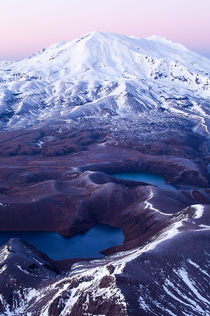 Mount Ruapehu and Tama Lakes from summit of Mount Ngaruhoe, Tongariro National Park