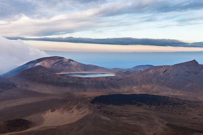 Blue Lake and lava flows. Tongariro Alpine Crossing, Tongariro National Park, Central North Island