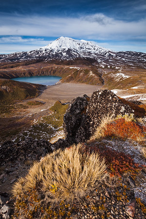 Mount Ruapehu and Lower Tama Lake from Upper Tama Lake overlook. Tongariro National Park