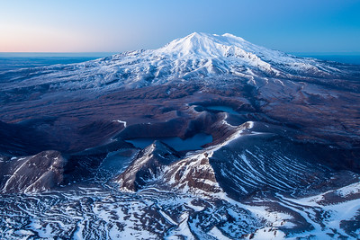 Predawn vista of Mount Ruapehu and the Tama Lakes from the summit of Mount Ngaruhoe. Tongariro National Park